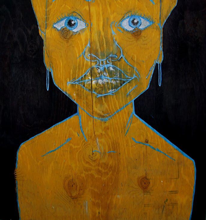 """A Little Blue, 2015, acrylic on wood, 32"""" x 30"""""""