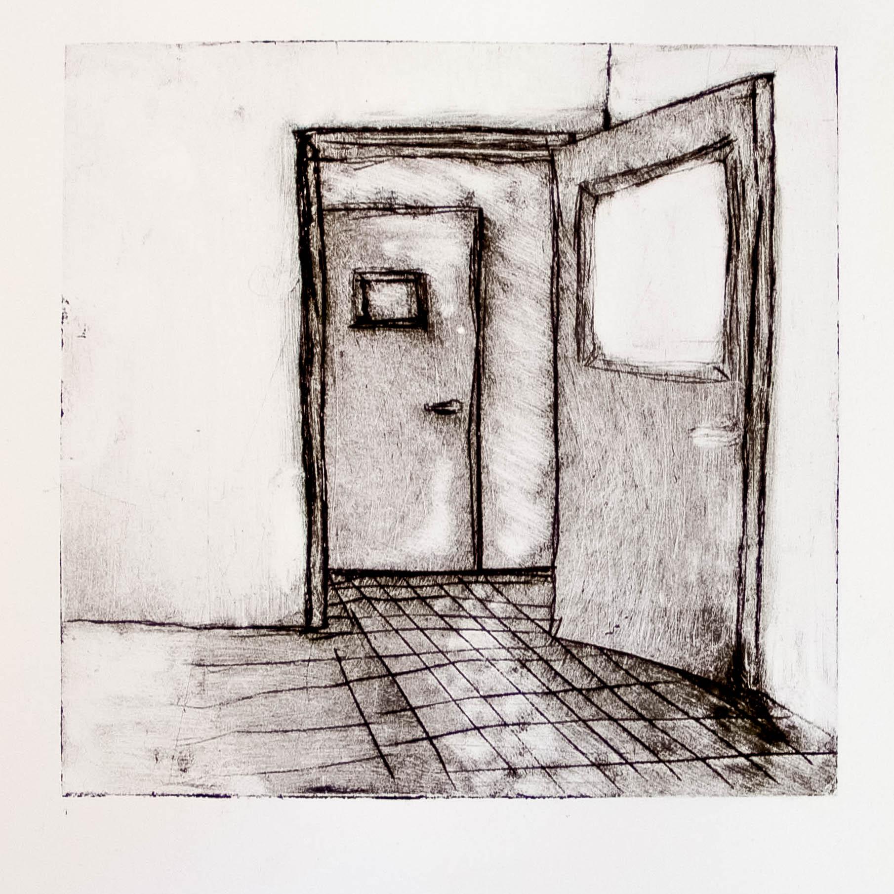 """Regina Viqueira, One open door, from """"Dismantle"""" series, 2013, intaglio print"""