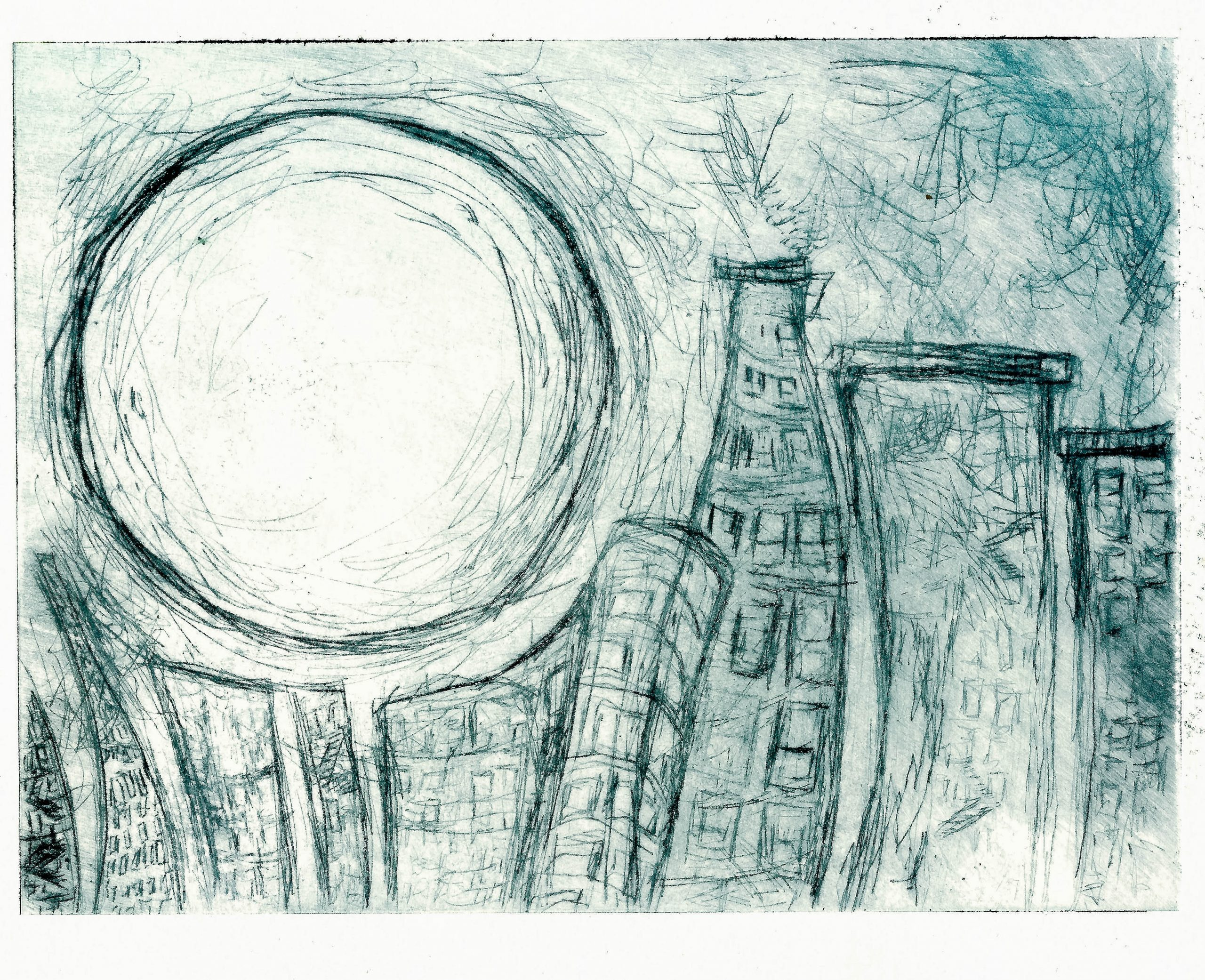 Regina VIqueira, City moon, 2013, intaglio print