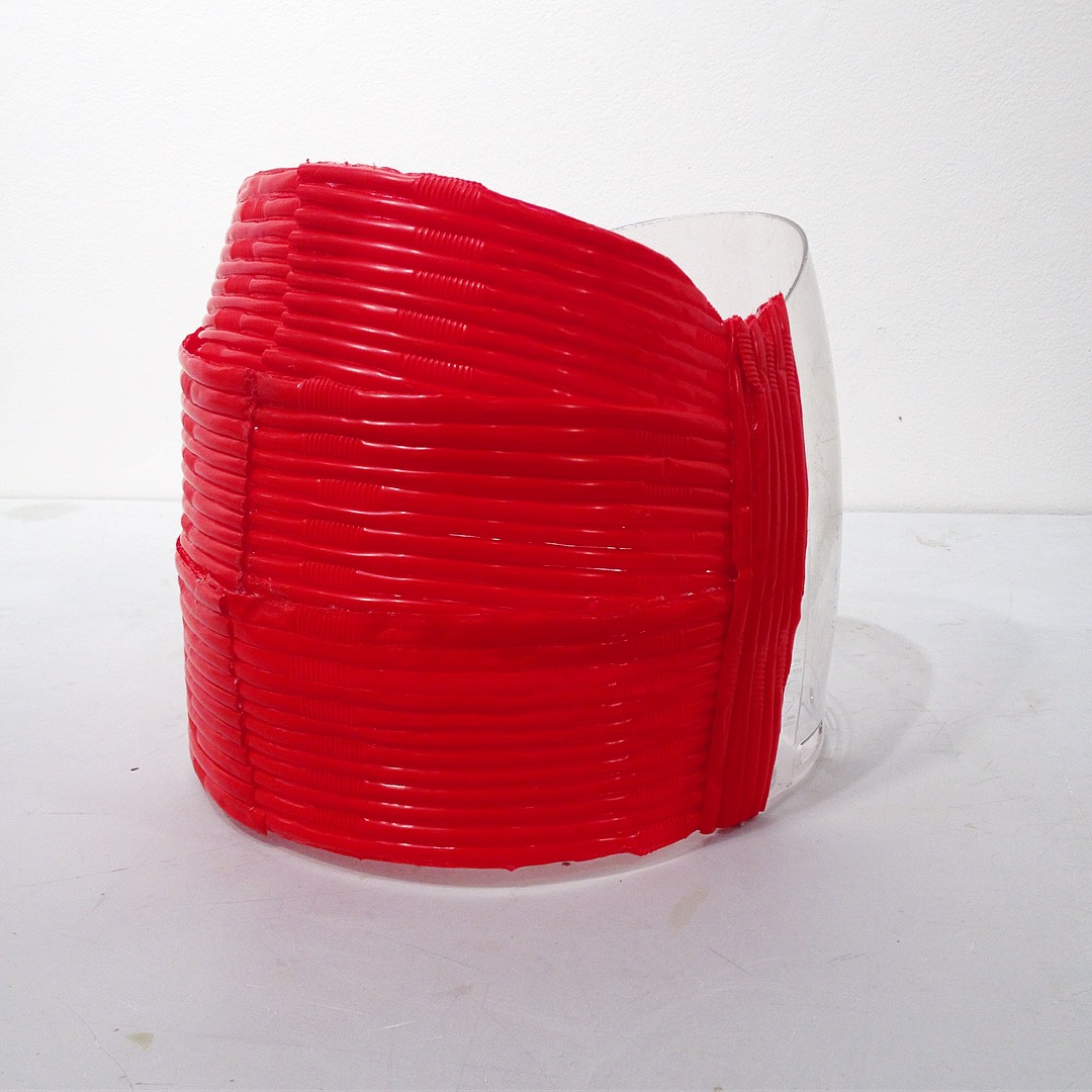 Crown, 2017, plastic straws, face shield, approx. 9