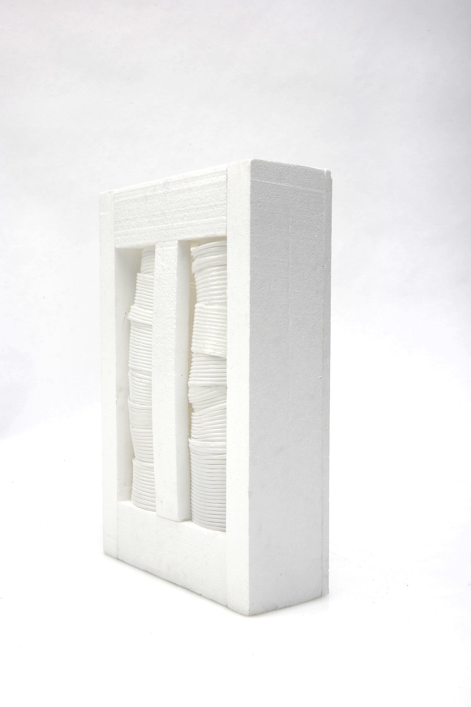 Window (off), 2018, Plastic straws, Styrofoam