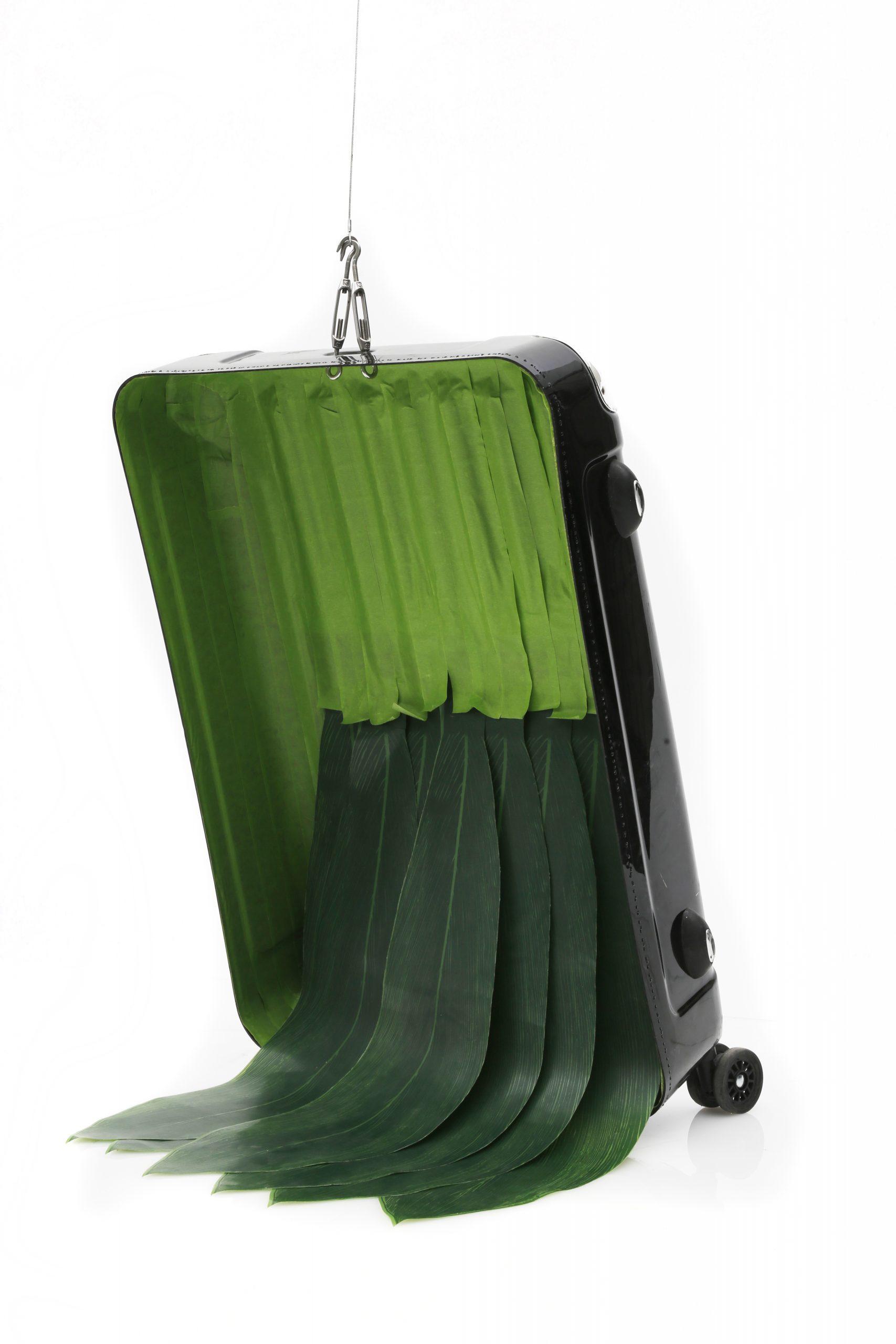 Baggage, 2017, Frog tape, plastic leaves, suitcase