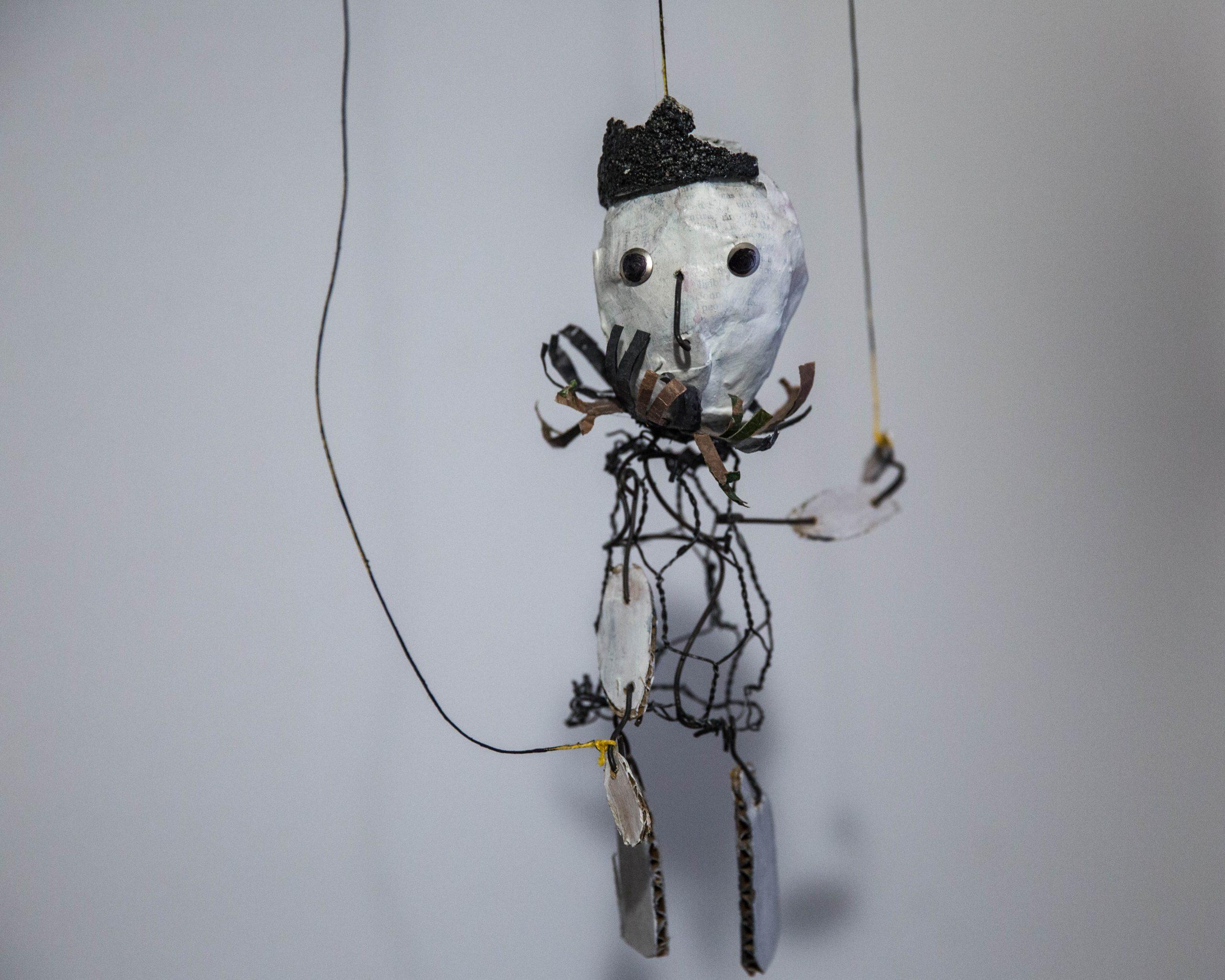 King George, 2014, Paper mache, styrofoam, wire, paint brush, string, cardboard, plastic bags