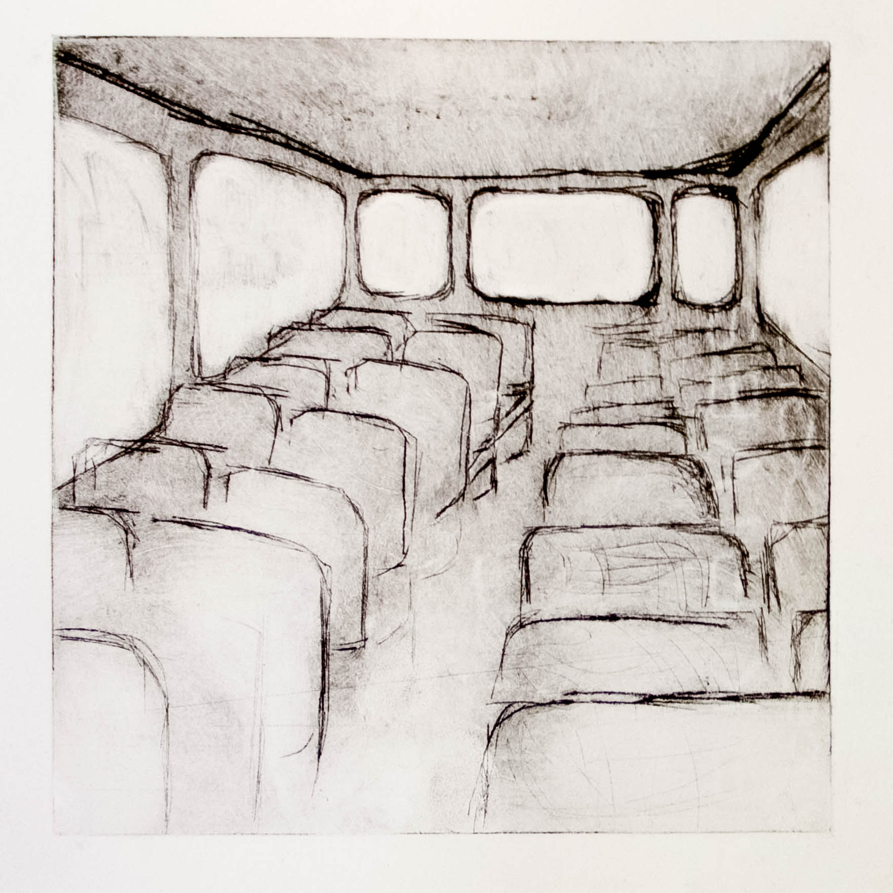 """Regina Viqueira, The bus during the strike, from """"Dismantle"""" series, 2013, intaglio print"""