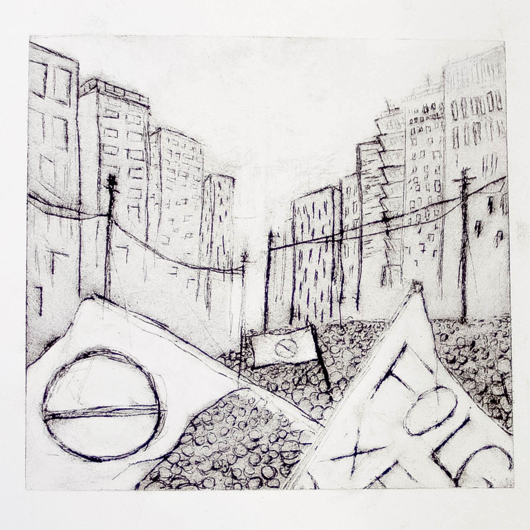 "Regina Viqueira, Protests, from ""Dismantle"" series, 2013, intaglio print"